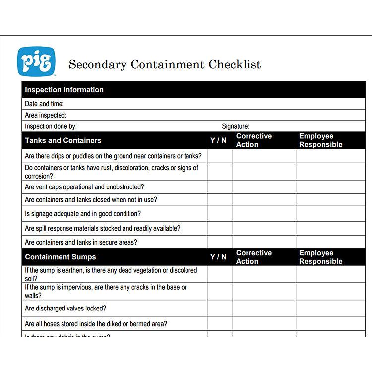 Secondary Containment Checklist